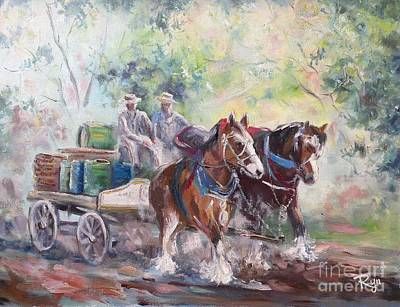 Working Clydesdale Pair, Victoria Breweries. Art Print
