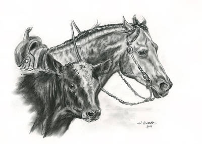 Working Cowboy Drawing - Working Cowhorse by Jana Goode