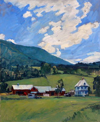 Abstract Realist Landscape Painting - Working Farm Berkshires by Thor Wickstrom