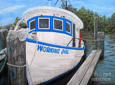 Oyster Painting - Working Girl by JoAnn Wheeler