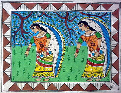 Working In Farms Madhubani Painting Print by Aboli Salunkhe