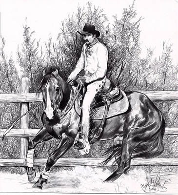 Working Cowboy Drawing - Working In The Pen-bic Pen That Is by Cheryl Poland