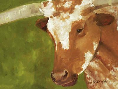 Working Man Texas Longhorn Oil Painting By Kmcelwaine Art Print