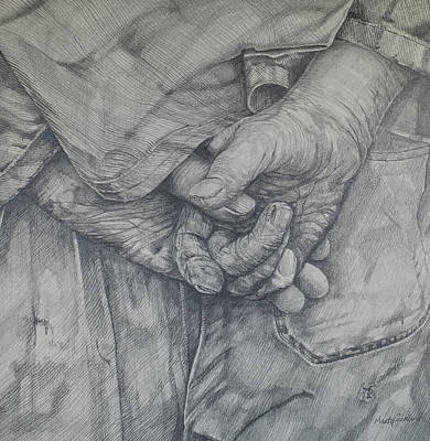 Drawing - Working Man by Marty Garland
