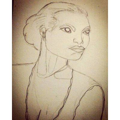 Portrait Photograph - Working On An Eartha Kitt Sketch For My by Genevieve Esson