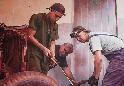 Art Print featuring the photograph Working On Classic Cars Havana Cuba by Joan Carroll