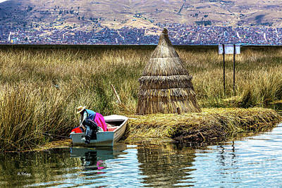 Photograph - Working On Lake Titicacaperu by Rene Triay Photography