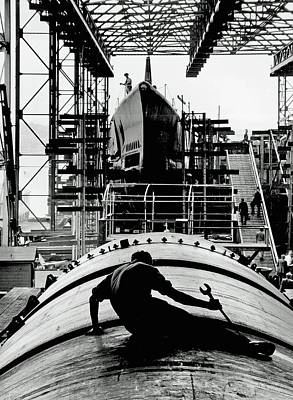 Photograph - Working On Submarine 1943 by U S N A