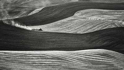 Harvesting Digital Art - Working The Fields In The Palouse Black And White by Eduard Moldoveanu