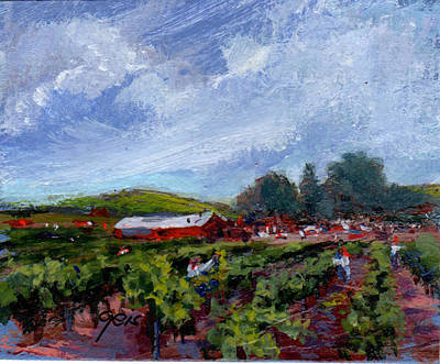 Grape Pickers Painting - Working The Vines by Kay Geiss