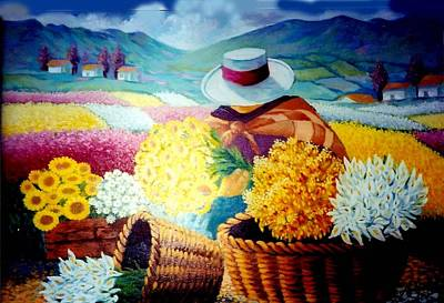 Painting - working wich the Flowers by Victor Cuya