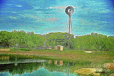 Art Print featuring the photograph Working Windmill  by Ray Shrewsberry