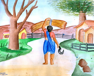 Working Woman Returning Home Art Print by Tanmay Singh
