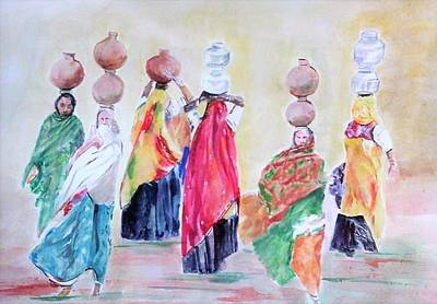 Painting - Working Women by Khalid Saeed