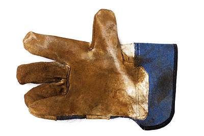 Workman's Leather Glove Isolated On White Art Print by Donald  Erickson