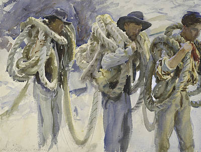 Working Cowboy Drawing - Workmen At Carrara by John Singer Sargent