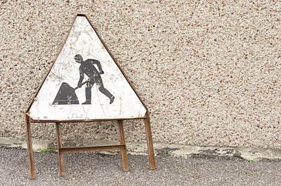 Asphalt Photograph - Works Sign by Tom Gowanlock