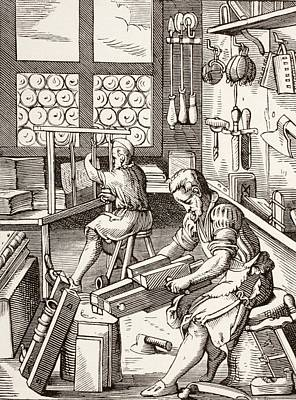 Atelier Drawing - Workshop Of A Bookbinder, After A 16th by Vintage Design Pics