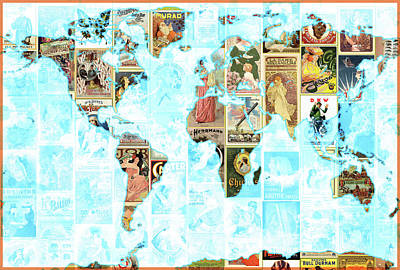 Painting - World Advertising Map by Gary Grayson