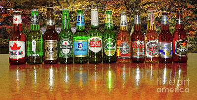 Row Of Bottles Photograph - World Beers By Kaye Menner by Kaye Menner