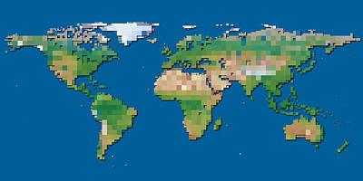Digital Art - World Block Map by Frans Blok