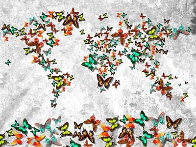 America The Continent Mixed Media - World Butterflies by Daniel Janda