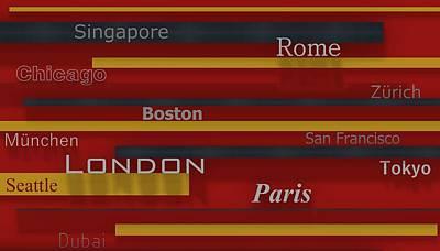 Illustration Digital Art - World Cities In Red 1 by Alberto  RuiZ