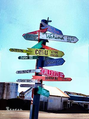 Photograph - World Directional Sign - A by Sadie Reneau