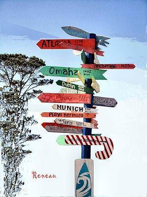 Photograph - World Directional Sign - B by Sadie Reneau