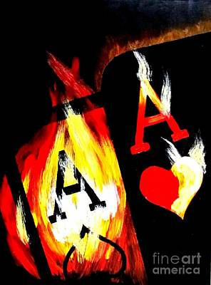 Painting - World Famous Flaming Pocket Aces by Teo Alfonso