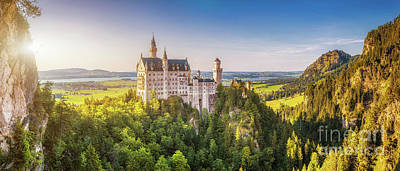Photograph - World-famous Neuschwanstein Castle In Beautiful Evening Light, F by JR Photography