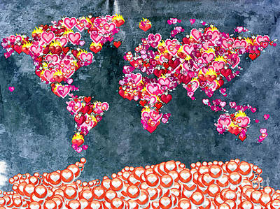 America The Continent Mixed Media - World Full Of Love by Daniel Janda