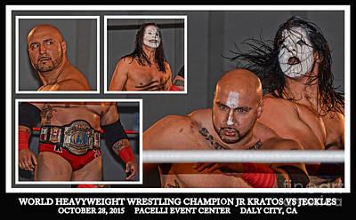 Championship Ring Digital Art - World Heavyweight Wrestling Champion Jr Kratos Vs Jeckles by Jim Fitzpatrick