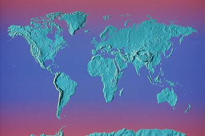 World Land Mass Map Art Print by Vladimir Pcholkin