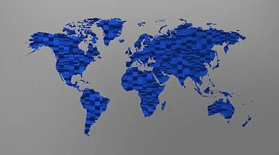 Mapping Digital Art - World Map 1 Blue by Alberto  RuiZ