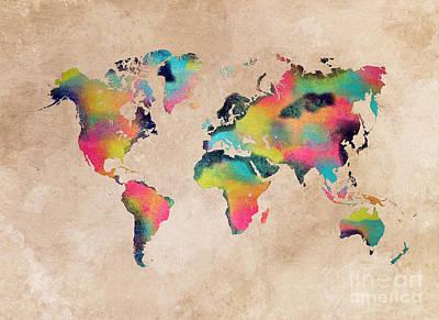 Map Digital Art - World Map 1 by Justyna JBJart