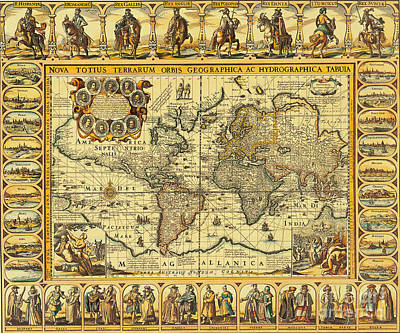 Seventeenth Century Photograph - World Map 1626 by Photo Researchers