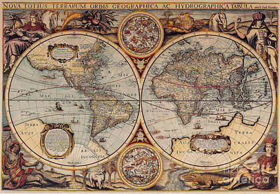 Photograph - World Map 1636 by Photo Researchers