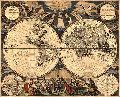 Old Map Photograph - World Map 1666 by Andrew Fare