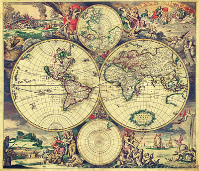 Painting - World Map 1689 by Lucia Sirna