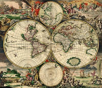 Polaroid Camera - World Map 1690 by Andrew Fare