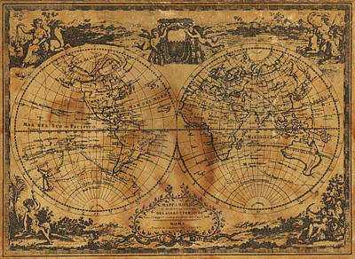 Stained Photograph - World Map 1788 by Kitty Ellis