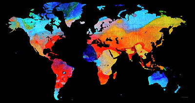America The Continent Painting - World Map 18 Black Background by Sharon Cummings