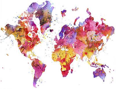 World Map 2 Art Print by Donny Art
