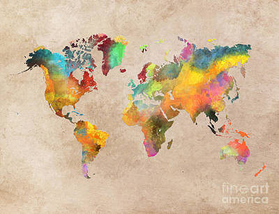 Colored Digital Art - World Map 2 by Justyna JBJart