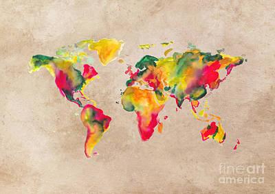 Map Of The World Digital Art - World Map 2026 by Justyna JBJart