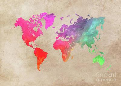 Map Of The World Digital Art - World Map 41 by Justyna JBJart
