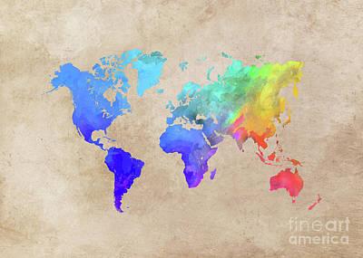 World Map 42 Art Print by Justyna JBJart