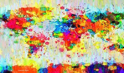 World Map Abstract 3 - Pa Art Print