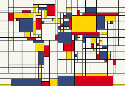 World Map Abstract Mondrian Style Art Print by Michael Tompsett